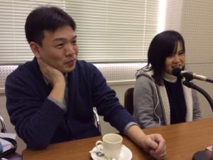 取材時の様子 左:行方 一喜さん(京都黒笛音楽隊)、右:岡田 裕子さん(京都黒笛音楽隊)