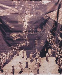 寺町三条を通る祇園祭山鉾巡行(昭和30年頃)