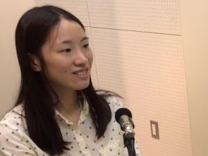 取材の様子 宮川典子さん(ラジオボランティア)